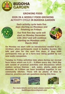 You can learn to grow food by joining our five day food growing activity cycle. Write for more details